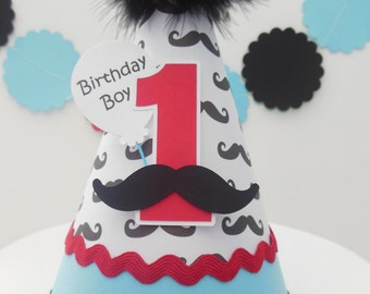 Little Man Mustache Bash Birthday Party Hat - Red and Aqua or Grey and Aqua - Personalized