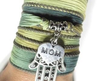 Mother's Day Silk Wrap Bracelet Hamsa Yoga Jewelry Green Bohemian Jewelry Boho Silk Ribbon Wrap Wrist Band Yoga Mom Unique Birthday Gift