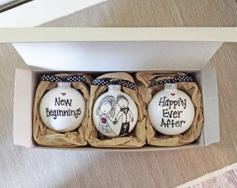 Wedding Gift Ornaments Set Personalized Ornament Bride And