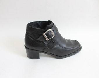 Black Buckle 90s Ankle Boots