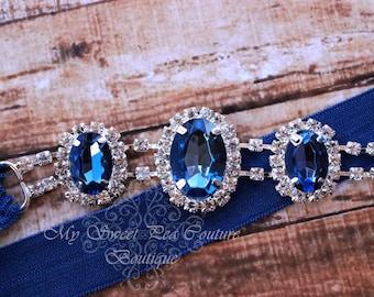 Blue Rhinestone Headband ~ Luxe Couture Rhinestone Headband- Sapphire Rhinestone Headband- Blue Headband- Newborn Headband- Photo Prop