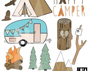 Happy Camper Clipart. 12 PNG files. Transparent background. 300 dpi. Instant download.