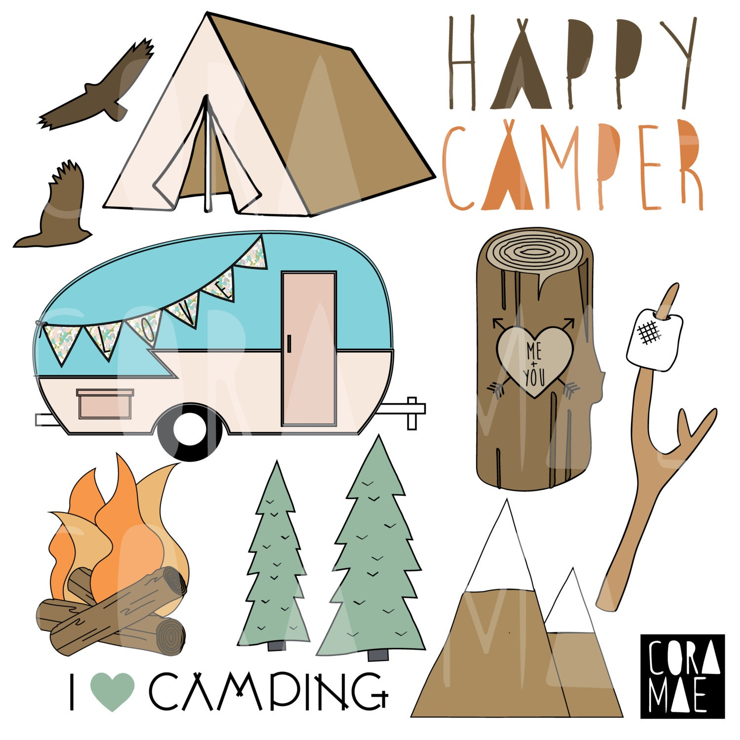 Happy Camper Clipart. 12 PNG files. Transparent background.
