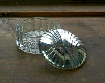 Vintage Godinger Silver and Glass Powder / Trinket Box with Mirror