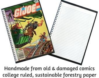 Marvel G.I. Joe comic Notebook, Eco-friendly Recycled Upcycled