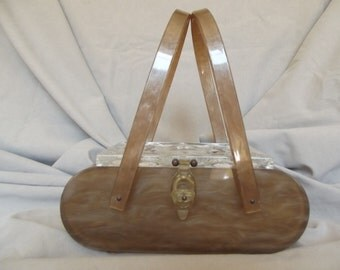 SALE!!!!!Rare Brown Original Rialto NY Lucite Handbag
