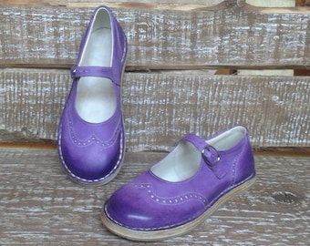 Purple leather shoes TEIDE