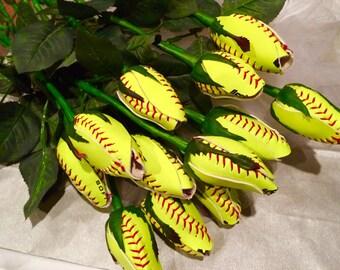 6 Softball Long Stem Rose Buds - 1/2 dozen