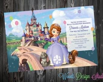 Custom Sofia the First Birthday Party Invitations - DIY Printable File