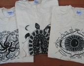 Original Artwork on Unbleached Tee's On Sale - 3 designs to choose from