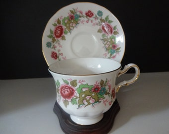 Queen Anne Chinese Tree Teacup and Saucer - Collectible Vintage Teacup and Saucer - English Bone China -  Tea Party - Cottage - Shabby Chic