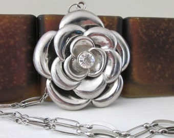 Vintage Necklace Flower Pendant Silver Metal Rose Clear Rhinestone Boho Jewelry Necklaces Vintage Jewelry 1960s Gift For Her