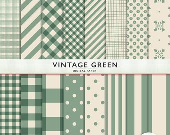 Digital Paper - Vintage Green - 16 Sheets - Gingham Polka Dots Floral Card Making  Personal  Commercial  G7351