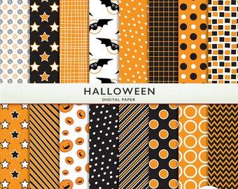 Halloween Digital Paper -  Orange and Black Scrapbooking Commercial Instant Download G7314