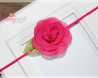 Hot Pink Chiffon Leaf Flower Skinny Elastic Newborn/Toddler Headband