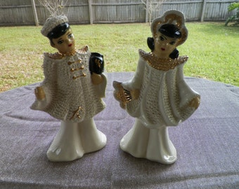 Mid Century Asian Couple Figurines Excellent Condition