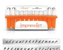 ImpressArt - 4mm SCRIPT - Lower Case Letters with Punctuation - Cursive,  metal stamps,  metal stamping set - metal,  leather, clay, stamps