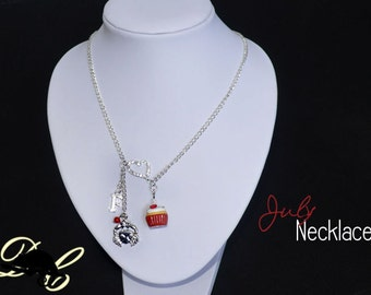 Your JULY Birthday Necklace - Cupcake with candle, birthstone,letter charm and zodiac charm - Personalised (In Stock)