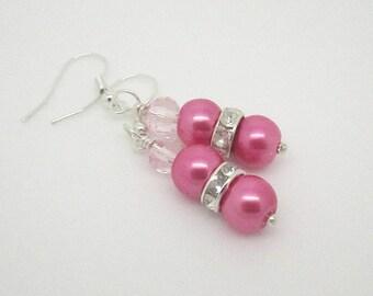 Pink Pearl Drop Earrings,  Pink Crystal Bridesmaid Jewellery, Bridesmaid Gifts, Pink Wedding, Crystal Bridesmaid Jewellery