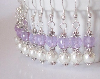 Purple Pearl Drop Earrings, Lilac Bridesmaid Earrings, Purple Wedding, Bridal Party Gifts, Crystal Dangles,  Lilac and Silver