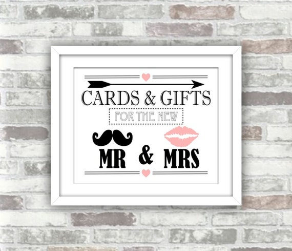 INSTANT DOWNLOAD - Wedding Cards & Gifts Printable Digital Art Print Sign - Mr and Mrs moustache, lips, arrow, heart - black, white, pink