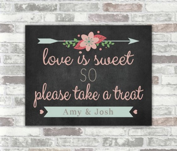 PERSONALISED PRINTABLE Digital Download - Candy bar Sweet Cart Wedding Decor Sign - Chalkboard, Floral, Pink - DIY Print it yourself