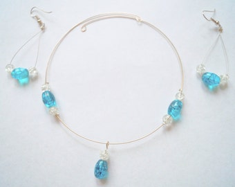 Aqua Necklace and Earrings