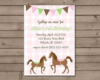Pink and Green Pony Birthday Party Invitations