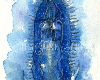 Original Watercolor Painting of the Revered Virgin of Guadalupe- V01- Patrona de Mexico - or Our Lady of Guadalupe