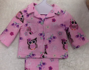 18 inch Doll Clothes, Pajamas, Shirt, Pants, American Doll Clothes, PJs, Sleepwear, Owls, Pink, Purple,Slumber Party,Handmade, Quality