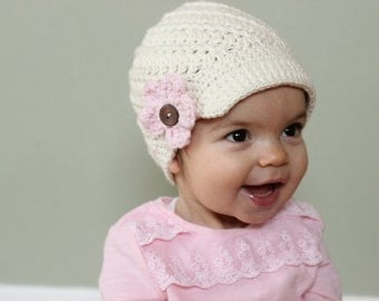 Interchangeable Flower Baby Crochet Hat, Newsboy Style, COLOR of your CHOICE, Baby/Toddler Girl, Girl Newsboy Hat with Flowers