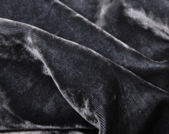Charcoal Rayon Velvet Pre Washed Silky Woven Fabric by the Yard