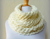 CREAM (OR Choose Color) infinity scarf / cowl -- wool blend, chunky, fashion accessories - Christmas gift