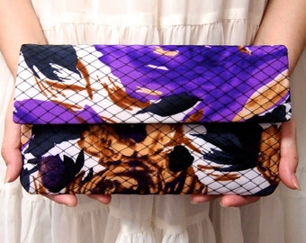 Bridal Bridesmaid Clutch - Clutch - Wild Flower Print - Unique Wedding Clutch Purse - Purple Black Clutch - Formal Prom Clutch Bag