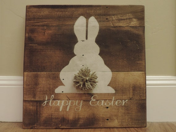 Happy Easter Wood Pallet Sign with Bushy Tail Stained Painted