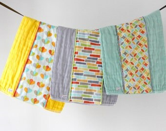 Baby Burp Cloth Gift Set of 3, Yellow, Grey and Seaglass Tile Pile.  Ready to Ship