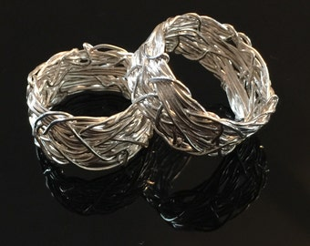 Crown of Thorns Ring, Solid Silver Rings, Matching Wedding Band Set, Textured Band, Couples Rings, Wedding Rings