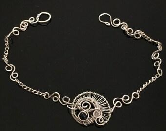 Wire Wrapped Jewelry Handmade, Fine Silver Jewelry, Blue Goldstone Bracelet, Woven Wire Bracelet