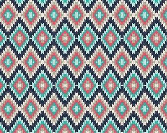 Baby Crib Bedding - Navy, Mint, Teal, Coral,  Kilim Tribal Pattern