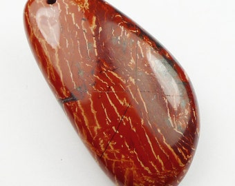 RARE - Puffy Red Snake Skin Jasper Puffy Pendant Bead - 51x26x12mm