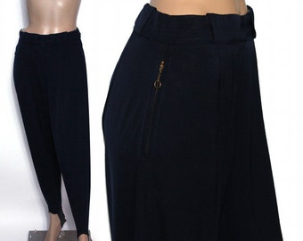 Vintage Ski Pants 1940s Navy Blue High Waist Cotton