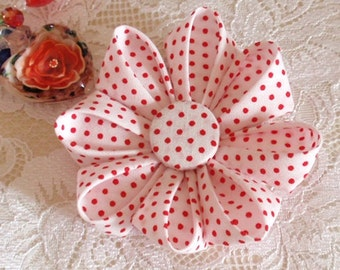 Lager Handmade Flower  (3-1/4 inches) in White With Red Dots MY- 263-02 Ready To Ship