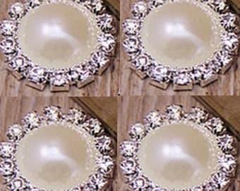 4 Flat Back Rhinestone Button Pearl Button (20 mm) QS-17