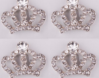 4 Flat Back Crown Rhinestone Button (30x25 mm) BL-013