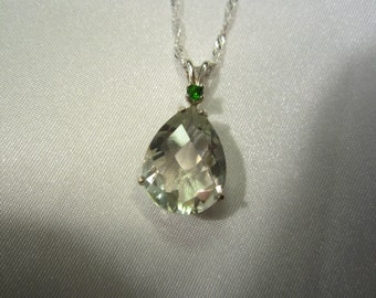 Natural Pear Accented Green Amethyst Pendant