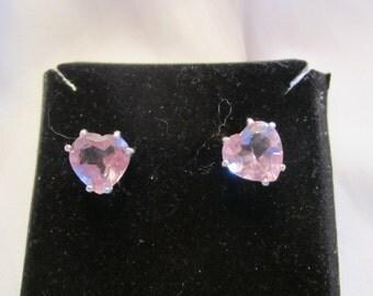 9mm Heart Amethyst Stud Earrings