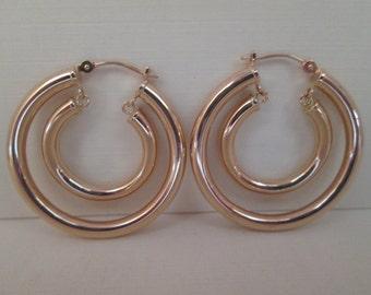 Double 14K Gold Hoop Earrings