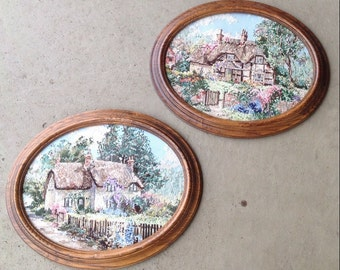 Pair Vintage Old English Cottages Framed Needlepoint Wall Hangings L0415C32