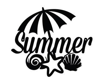 Summer Metal Sign - Black, 15.4x13.3, Seasonal Decor, Outdoor Sign, Door Sign, Metal Wall Art, Metal Sign, Summer