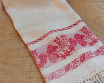Woven Damask Cotton Runner, Vintage Damask Kitchen Towel,Red and White Woven Border